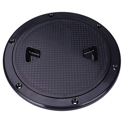 FHelectronic 6-Inch Marine Deck Plate Round Non-Slip Boat Cabin Vents Hatch Screw-in Deck Plate with Removable Cover ABS Plastic Deck Fittings (Black)