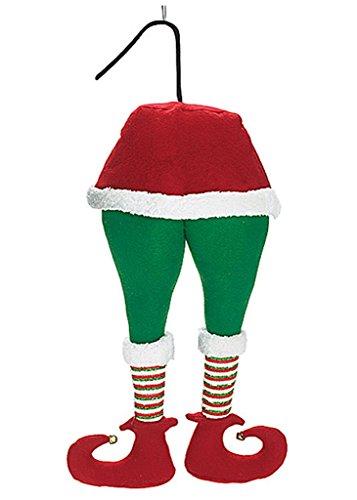 Elf Leg Bottom with Posable Legs - Fasten to Chimney Tree Decor - 20 (Plush Santa Chimney Hat)