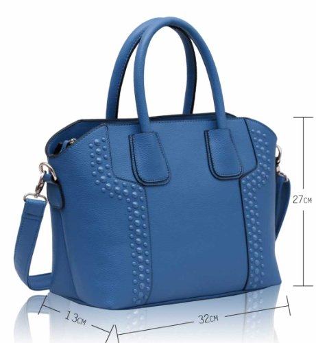 ANNA GRACE - Bolso de asas de piel sintética para mujer Design 1 - Blue