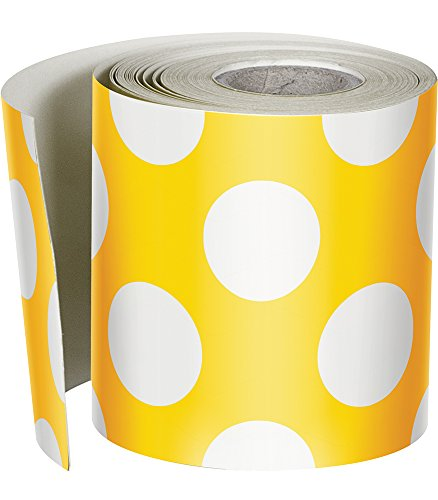 Schoolgirl Style Rolled Straight Borders, Yellow with Polka Dots - Large Girl Dot