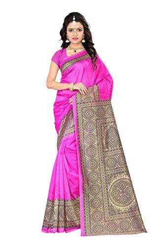 Jaanvi Fashion Women's Mysore Art Silk Saree (Printed_Pink)