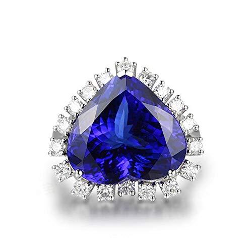 (Adisaer-Women's Ring 18kt White Gold Tanzanite 10.3ct Blue Heart)