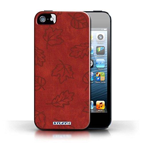 Etui pour Apple iPhone 5/5S / Rouge conception / Collection de Motif Feuille/Effet Textile