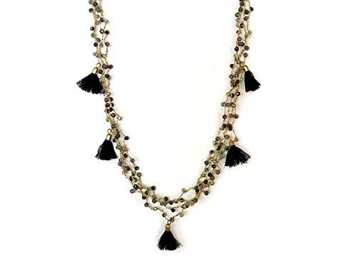 Beaded Stone Tassel Necklace for Women Smoky Quartz Agate Jewelry Boho Accessories