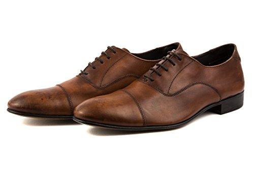 Base London - Zapatos de cordones de Piel Lisa para hombre 42 marrón