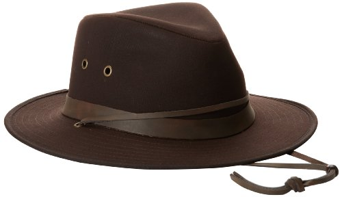 (Henschel Men's Outback Oilcloth Hat, Dark Brown, Large)