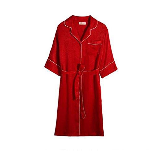 縁日付付き獣GAODUZI 寝間着スカート女性半袖夏シミュレーションシルクセクシーな薄い赤いパジャマ祝祭結婚式の氷シルクローブドレス