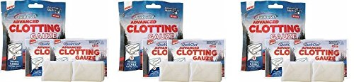 "QuikClot Advanced Clotting Gauze with Kaolin, Two 3"" x 24"" Gauze Strips – First Aid Hemostatic Gauze from Adventure Medical Kits, Quik Clot Combat Gauze, Blood Clotting Dressing (3-(Pack)) by QuikClot"