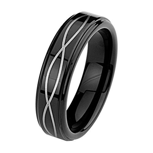 6MM-Wellingsale-LUXE-Series-Comfort-Fit-Wedding-Band-Ring-with-Black-PVD-Coating-and-Laser-Etched-Woven-Stripe-Pattern-in-Polished-Finish-for-Men-and-Women-Multiple-Sizes-Available