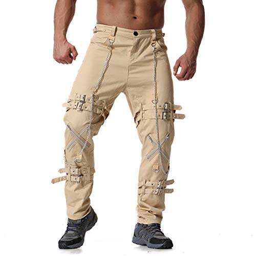 Mens Plus Size Fancy Multi Zipper Cotton Vintage Casual Trouser Long Cargo Pants Khaki