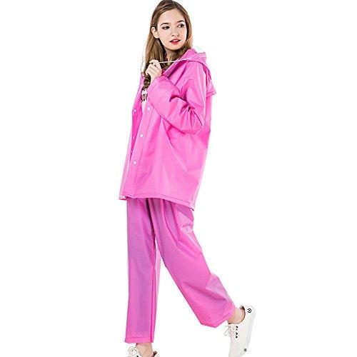 KARRESLY Motorcycle Ultra-Lite Rain Suit Waterproof Hooded Rainwear Jacket & Trouser Suit for Unisex Adult(Red-M)