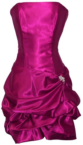 Strapless Satin Bubble Dress Prom Formal Holiday Party Cocktail Gown Bridesmaid, Small, fuchsia