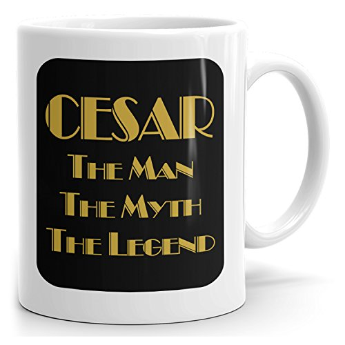 Cesar on mug - The Man The Myth The Legend - Man Gifts for Husband, Father, Boyfriend - 15oz White Mug - Gold Black 2