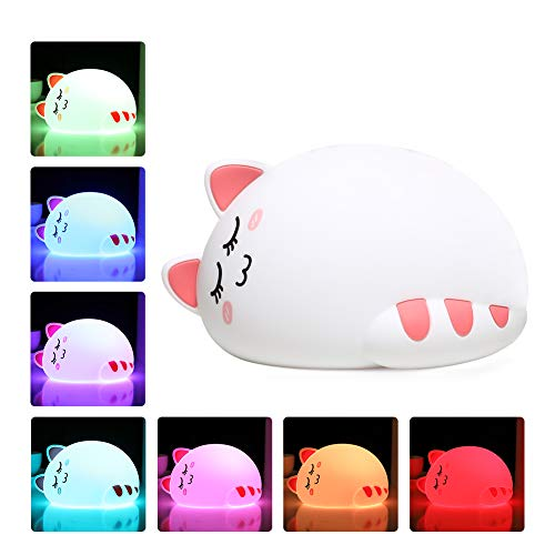 Night Lights for Kids, One Fire Baby Nursery Night Light, Cute Cat Soft Silicone Animal Kitty Lamp, Portable Breastfeeding Room Decor Nightlights for Children Toddler Teen Girls Boys Mothers - Night Kitty Light