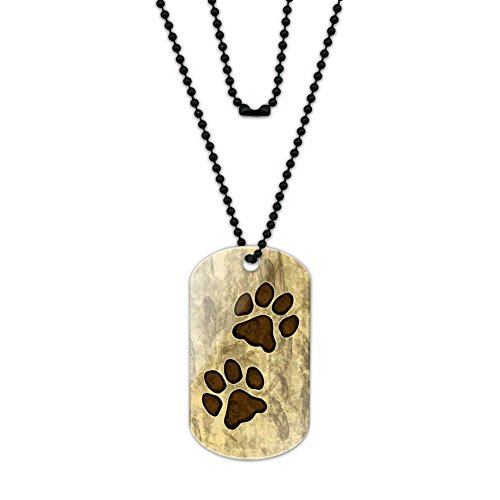 Grungy Tags (Grungy Pet Paw Prints Acrylic Dog Tag with Black Ball)