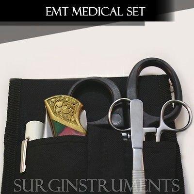 EMT Medical Padded Leather Holster Set with Stainless Steel Folding Pocket Knife