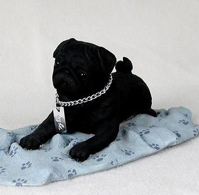Simply Silver - PUG (BLACK) MY DOG Figurine Statue Pet Lovers Gift Resin Hand Painted