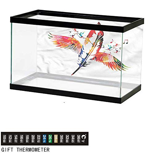 "bybyhome Fish Tank Backdrop Feathers,Feather with Wings Birds,Aquarium Background,72"" L X 24"" H(183x61cm) Thermometer Sticker"