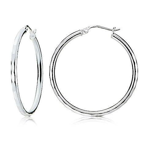 Sterling Silver 2mm Hammered Round Hoop Earrings, 30mm - Hammered Round Hoop