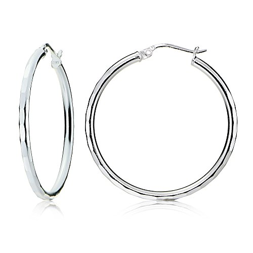 Hammered Round Hoop (Sterling Silver 2mm Hammered Round Hoop Earrings, 30mm)