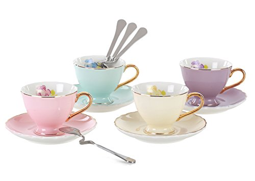 Jusalpha Porcelain Coffee Bar Espresso SMALL Cups and Saucers Set, 3-Ounce FD-TCS02-4COLOR (3 ()