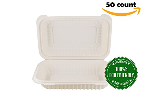HeloGreen Airtight Eco-Friendly Cornstarch Takeout to-Go Food Containers Microwaveable Freezer Safe, Save The Environment - (Airtight, 8'' x 6'', 1-Compartment) - (50 Count), Ivory by HeloGreen