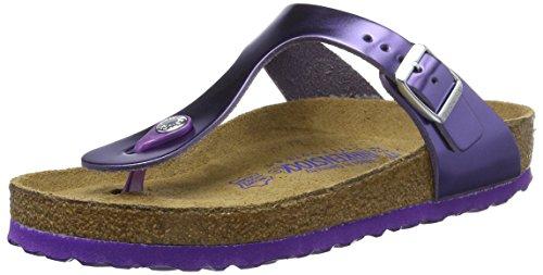 Birkenstock Gizeh Leder Softfootbed, Chanclas para Mujer Violett (Metallic Violet)
