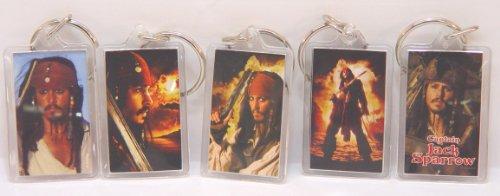 (Pirates of the Caribbean Captain Jack/Johnny Depp 5 Key Ring Set)
