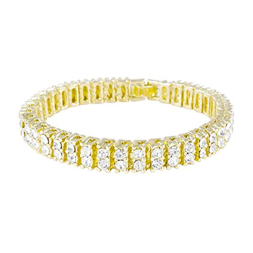 - NIV'S BLING - 14K Yellow Gold-Plated Iced Out 2 Row Bracelet 8 Inches
