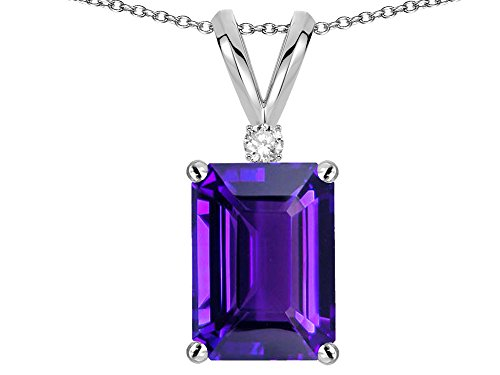 Star K Classic Octagon Emerald Cut 8x6mm Genuine Amethyst Pendant Necklace 14 kt White Gold