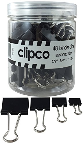 Clipco Binder Clips Jar Assorted Sizes Micro Mini Small and Medium Black (48-Pack)