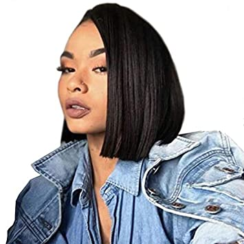Amazoncom Short Blunt Cut Bob Lace Front Wigs For Women 1b Off