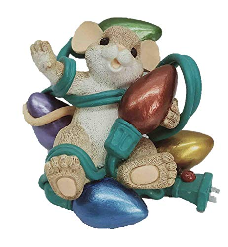 Charming Tails 91731 Light Up The Season with a Smile Mouse Tangled in Christmas Lights Figurine