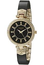 Armitron Women's 75/5313JMGPBK Swarovski Crystal-Accented Gold-Tone and Black Ceramic Bangle Watch