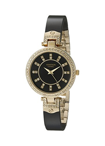 Armitron Women's 75/5313JMGPBK Swarovski Crystal-Accented Gold-Tone and Black Ceramic Bangle Watch