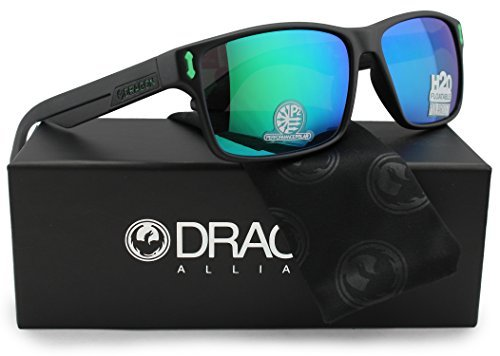 Dragon Alliance Dr Count H2O Polarized Floatable Sunglasses Matte Black w/Green Mirror (045) 58mm Authentic by Dragon Alliance
