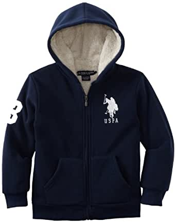U.S. Polo Assn. Big Boys' Solid Fleece Hoodie With Sherpa Lining, Navy, 8