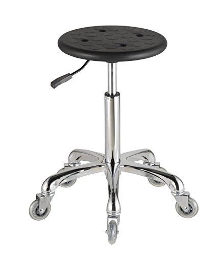 Adjustable Grooming Stool in Black with Anti-Static Polyurethane Seat Roll Smooth for Salon Lab Medical Work-Bench (Height Adjustable 20.5-28.5 Inches)
