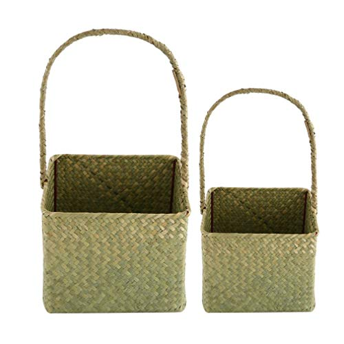 YCDC A 2 Pcs/Set, Square Seagrass Woven Flower Basket, Household Sundries Home Decorative Flowerpot, Handmade Craft 2 Pcs/Set Square Seagrass Woven Flower Basket Household Sundries Storage Bag by YCDC