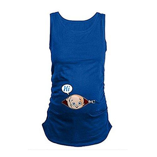 KIKIGOAL Hi bebé cremallera 3D impresionante color sólido simple maternidad suelta suelta chaleco de gran tamaño Azul