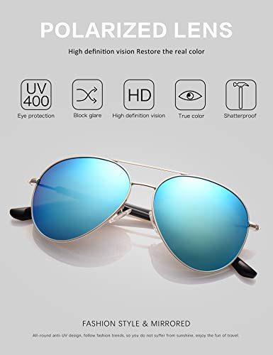 LUENX Aviator Sunglasses for Mens Womens Polarized Mirror - UV 400 Protection Light Blue Lens Silver Frame 60mm