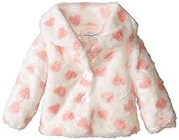 Pumpkin Patch Baby-Girls Infant Button Up Fluffy Hearts Jacket, Vanilla, 0-3 Months