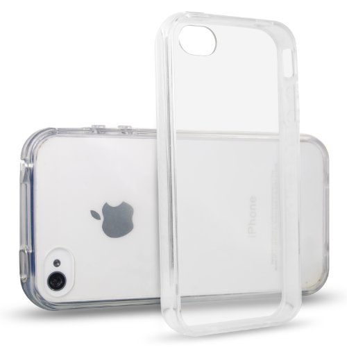 iPhone 4 Case, JETech iPhone 4 4s Case Bumper Shock-Absorption Bumper and Anti-Scratch Clear Back for Apple iPhone 4/4s (Clear) - 0510 (Iphone 4 Bumper Clear)