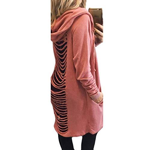 1 Manica Moda Donna Lunghezza Felpe Cappotto Con Sciolto S Elegante Lunga Tasca Juqilu xl Cappuccio 1qTf6ww
