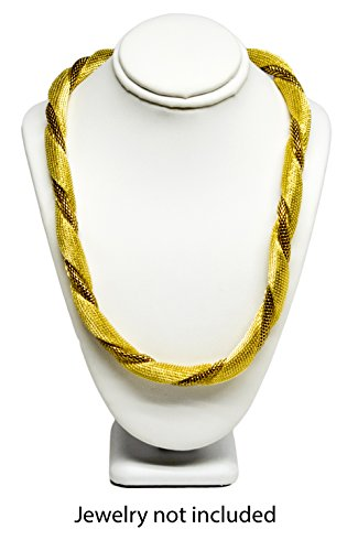 Novel Box® White Leatherette Necklace Jewelry Display Bust Stand Small (7.5X5.5X3