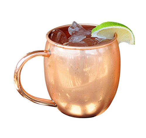 Copper Barrel Mug for Moscow Mules - 16 oz - 100% pure copper by ALCHEMADE - includes free E-Recipe Book - Stein World Wine Cabinet