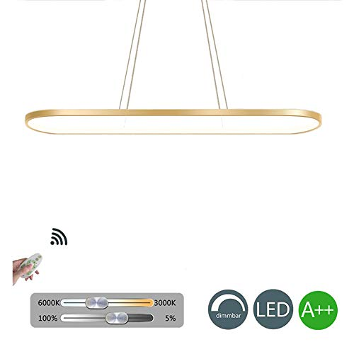 KBEST 56W LED Lampara De Techo Colgante,Colgante De Luz Altura Regulables 6720lm Apara Mesa Comedor,Fabrica,Centros,Oficina,Supermercado,Oro