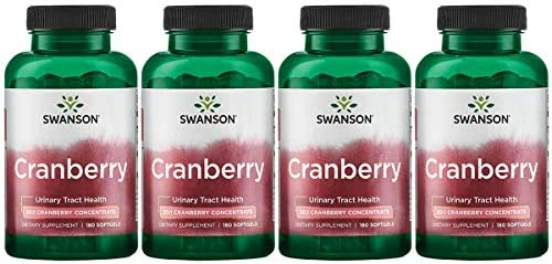 Swanson Cranberry 20 1 Concentrate Urinary Tract Support 180 Sgels 4 Pack