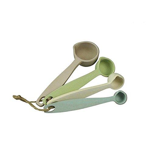 CAPVENTURE - Zuperzozial - Messlöffel Löffelset für Maßeinheiten zum Kochen und Backen mit Ausgießer aus Bambusfasern/ Naturmaterialien, 4 Stück - Dawn 4 Stück - Dawn