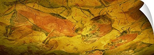 Canvas On Demand Wall Peel Wall Art Print entitled Paleolithic paintings, Altamira Cave, Santillana del mar, Cantabria, Spain